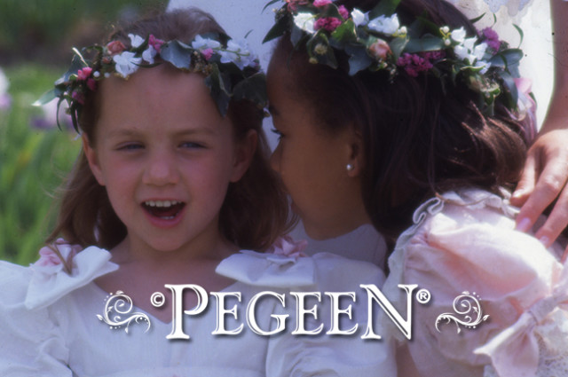 Jessica and Janelle modeling their Pegeen flower girl dresses