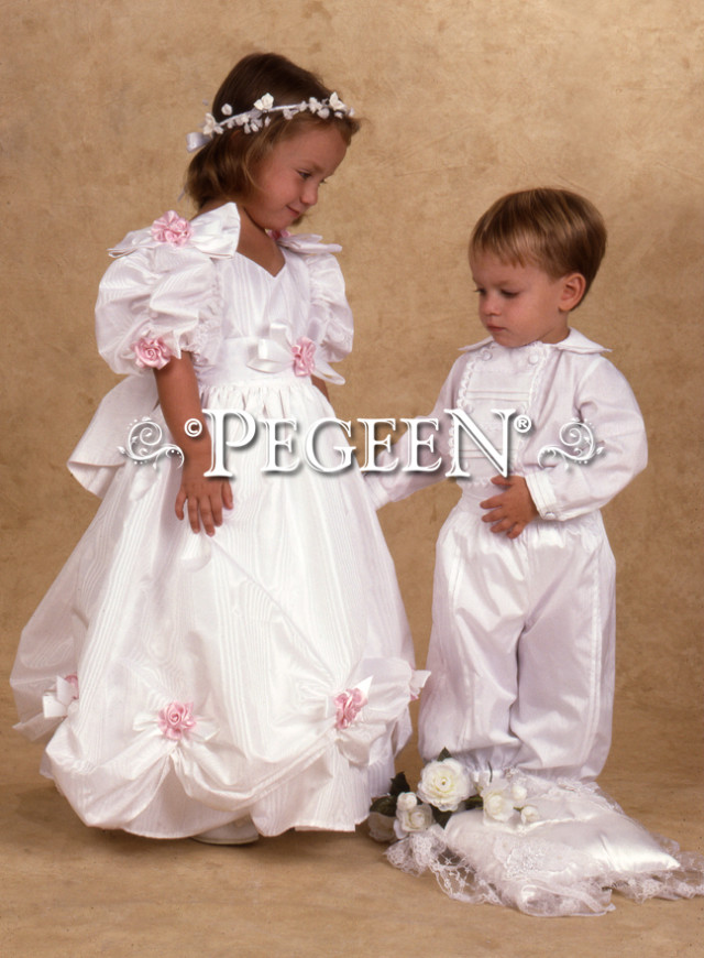 Jessica's getting married!  Jessica and Thomas modeling their Pegeen Children's Bridal Wear