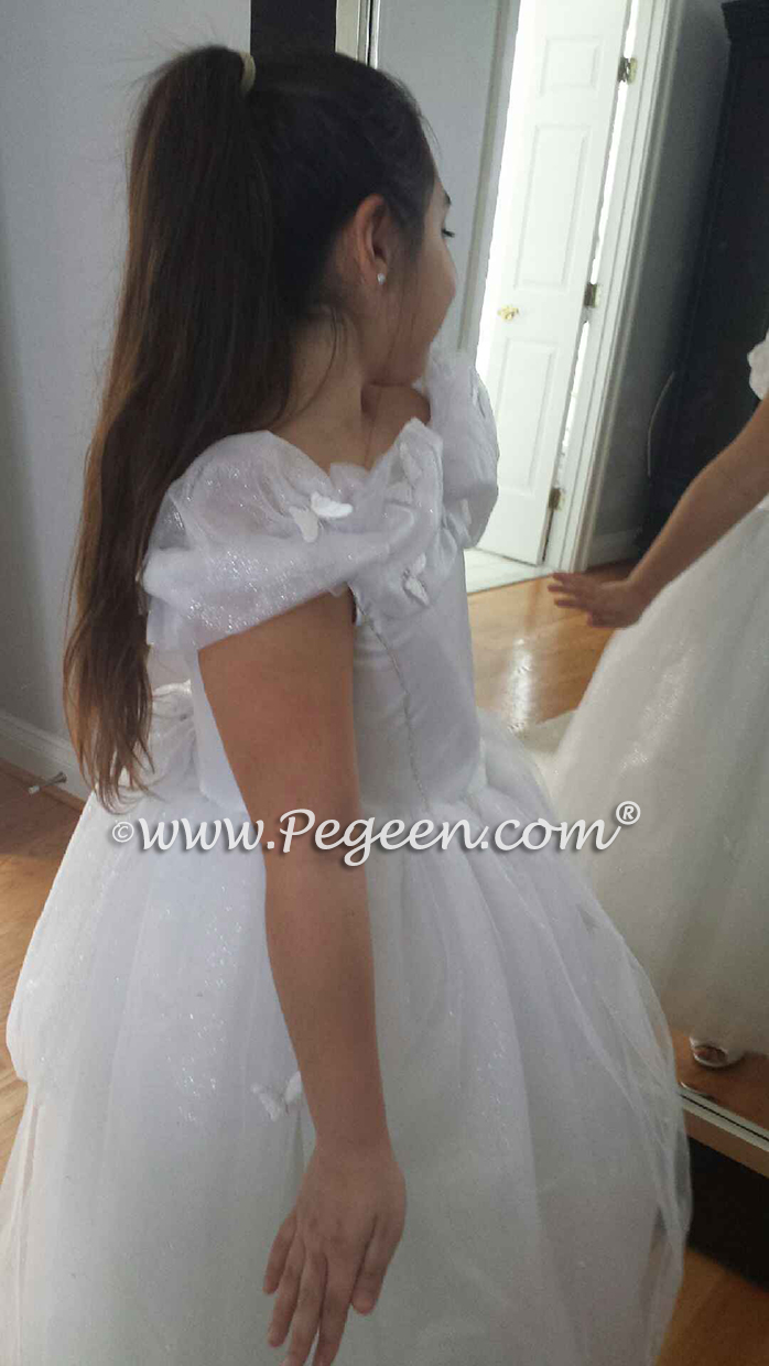 White Cinderella Flower Girl Dress