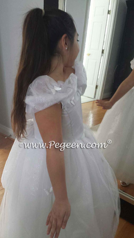 White Cinderella Flower Girl Dress