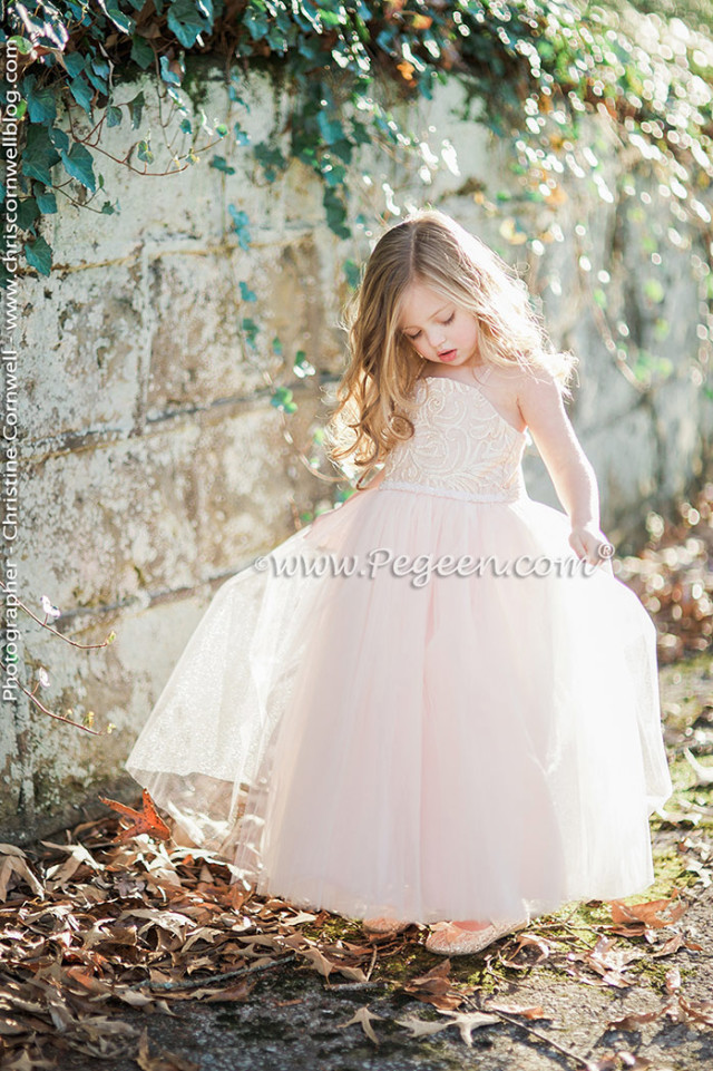 Pink tulle flower girl dress by Pegeen.com