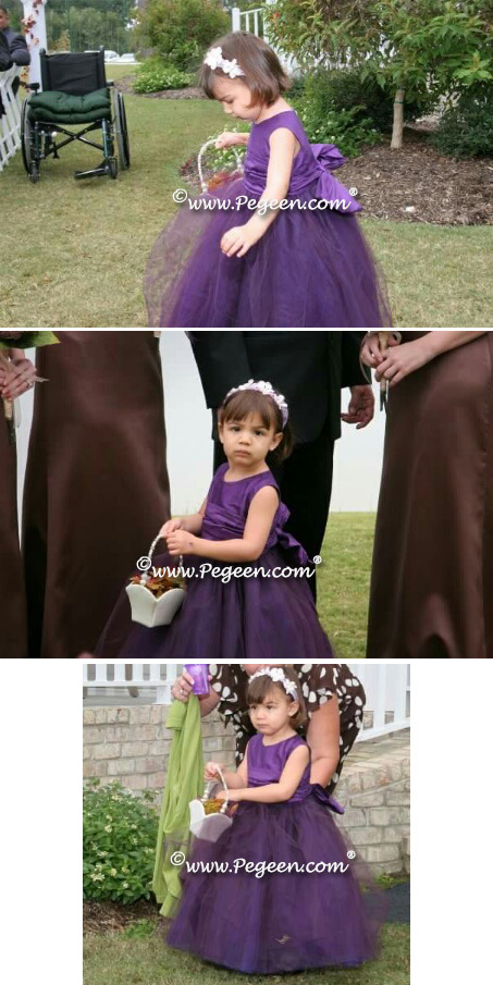 Plum silk and tulle flower girl dress by Pegeen.com